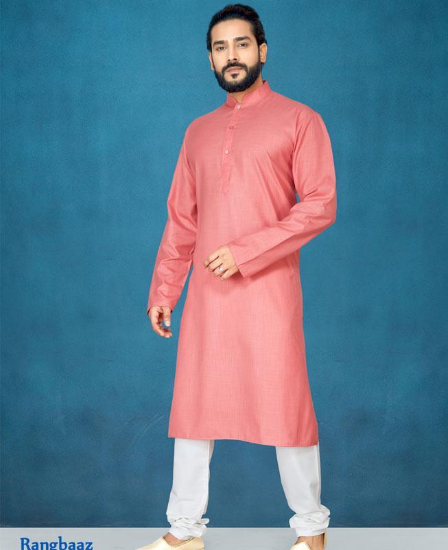 Plain Cotton Red Kurta Pajama