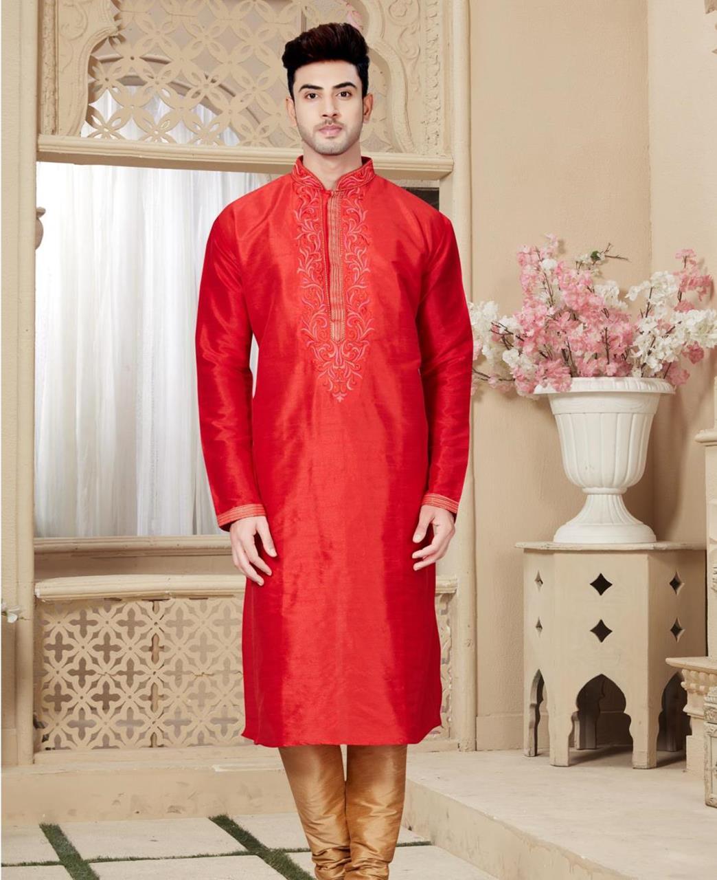 Plain Art Silk Maroon Kurta Pajama
