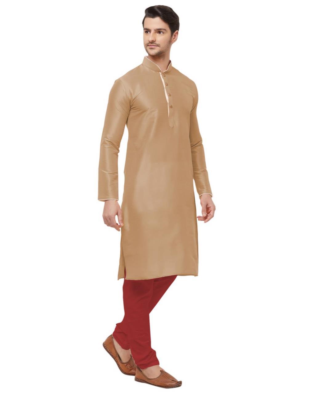 Plain Silk Beige Kurta Pajama