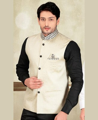 Thread Work Silk Cream Mens Waist Coat