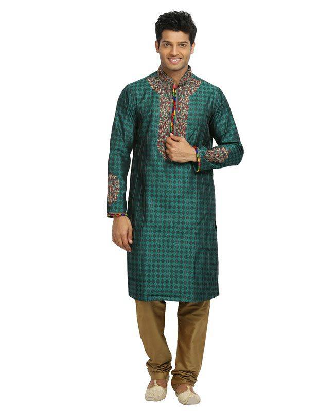 Brocade Patch Silk Green Mens Kurta Pajama