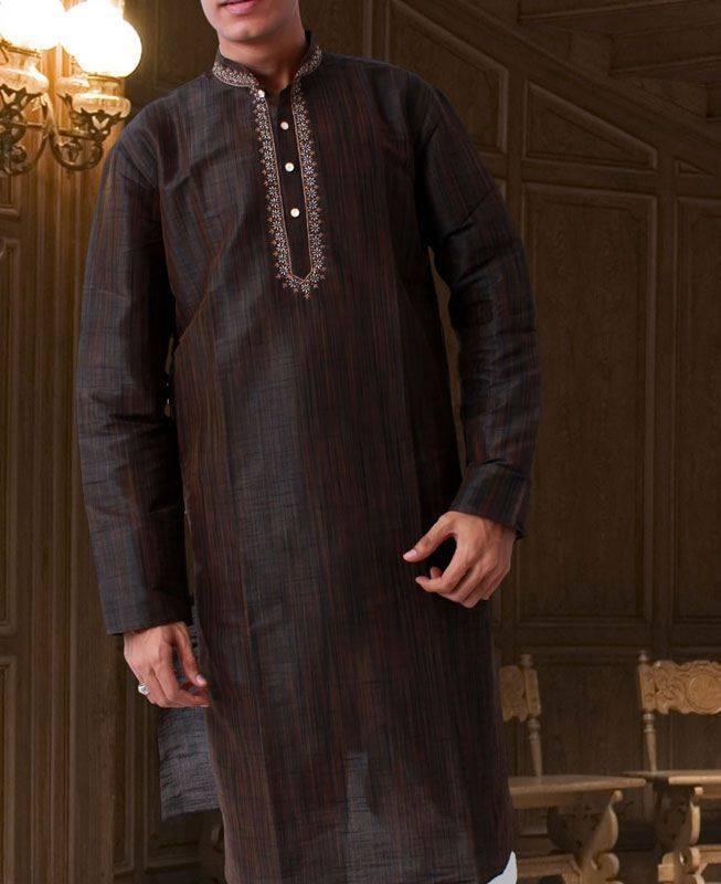 Patch Work Raw Silk Brown Mens Kurta Pajama