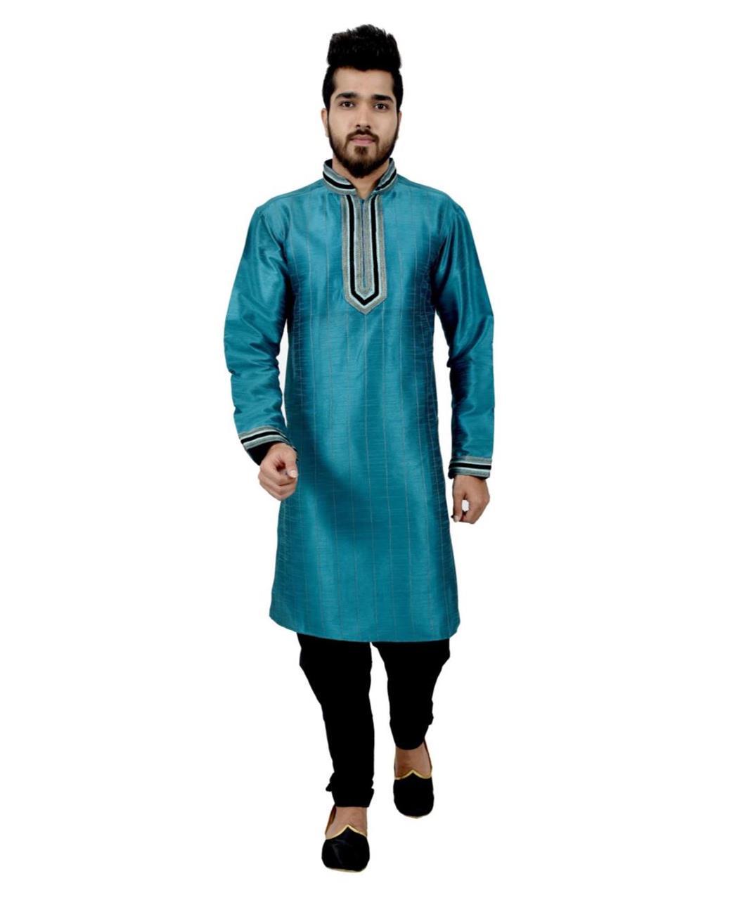 Cord Work Art Silk Blue Sherwani