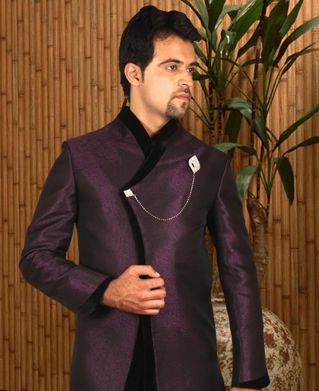 Printed Silk Purple Coats