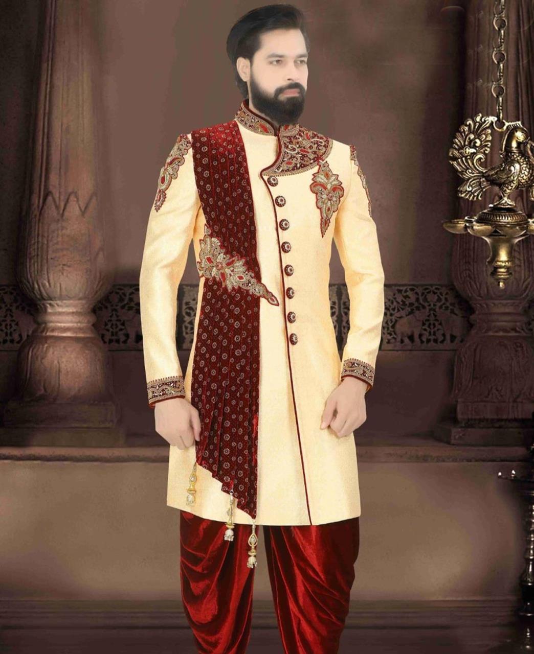 Jacquard Dupion Silk Gold Kurta Pajama