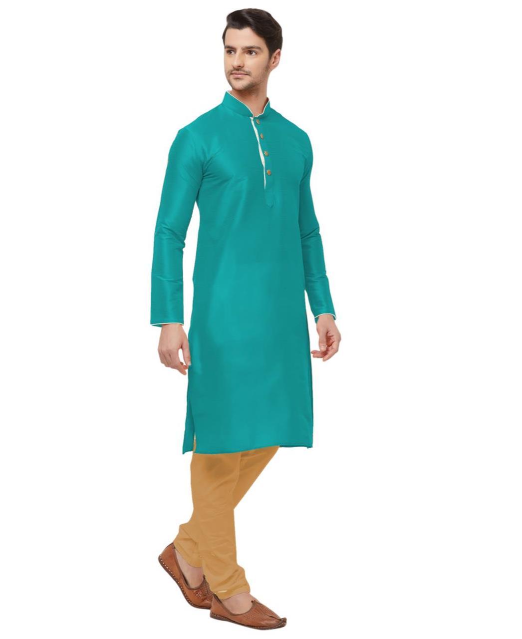 Plain Silk DARKCYAN Kurta Pajama