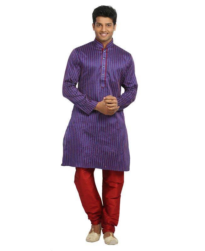 Resham Silk Blue Mens Kurta Pajama