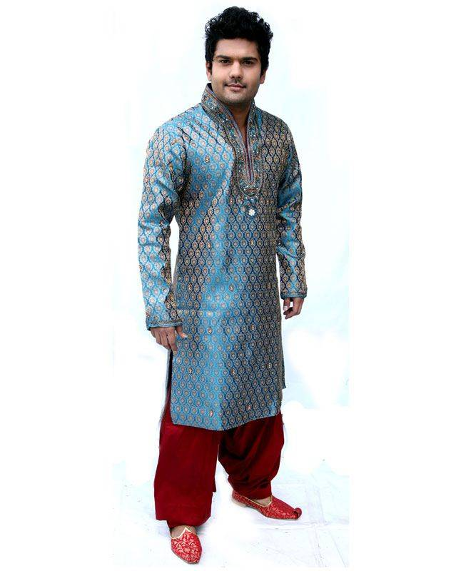 Brocade Patch Brocade Blue Mens Kurta Pajama
