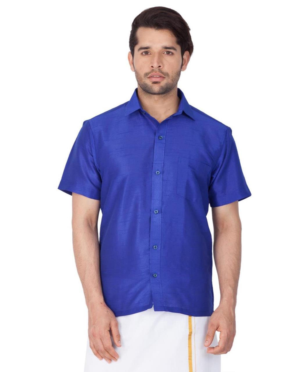 Plain Cotton Blue Dhoti