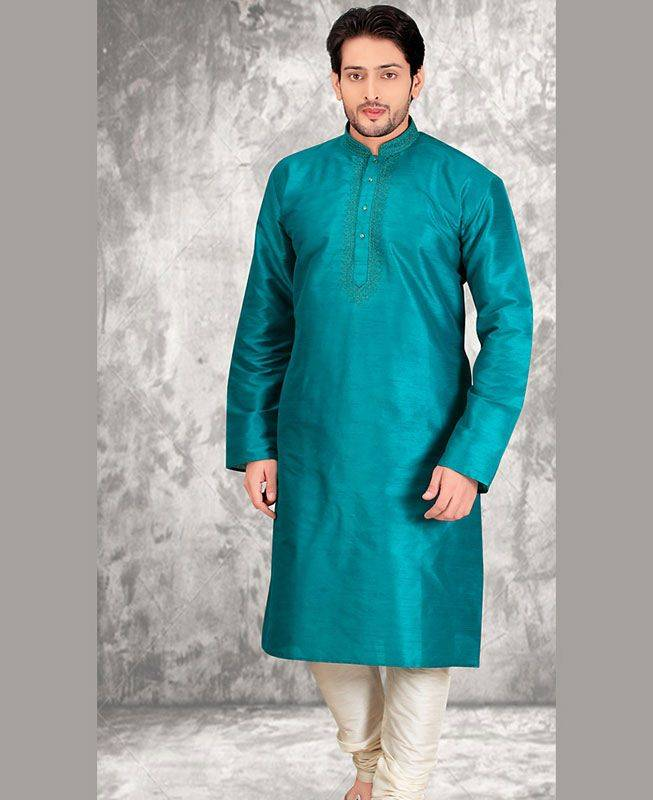 Butta Work Dupion Silk Blue Mens Kurta Pajama