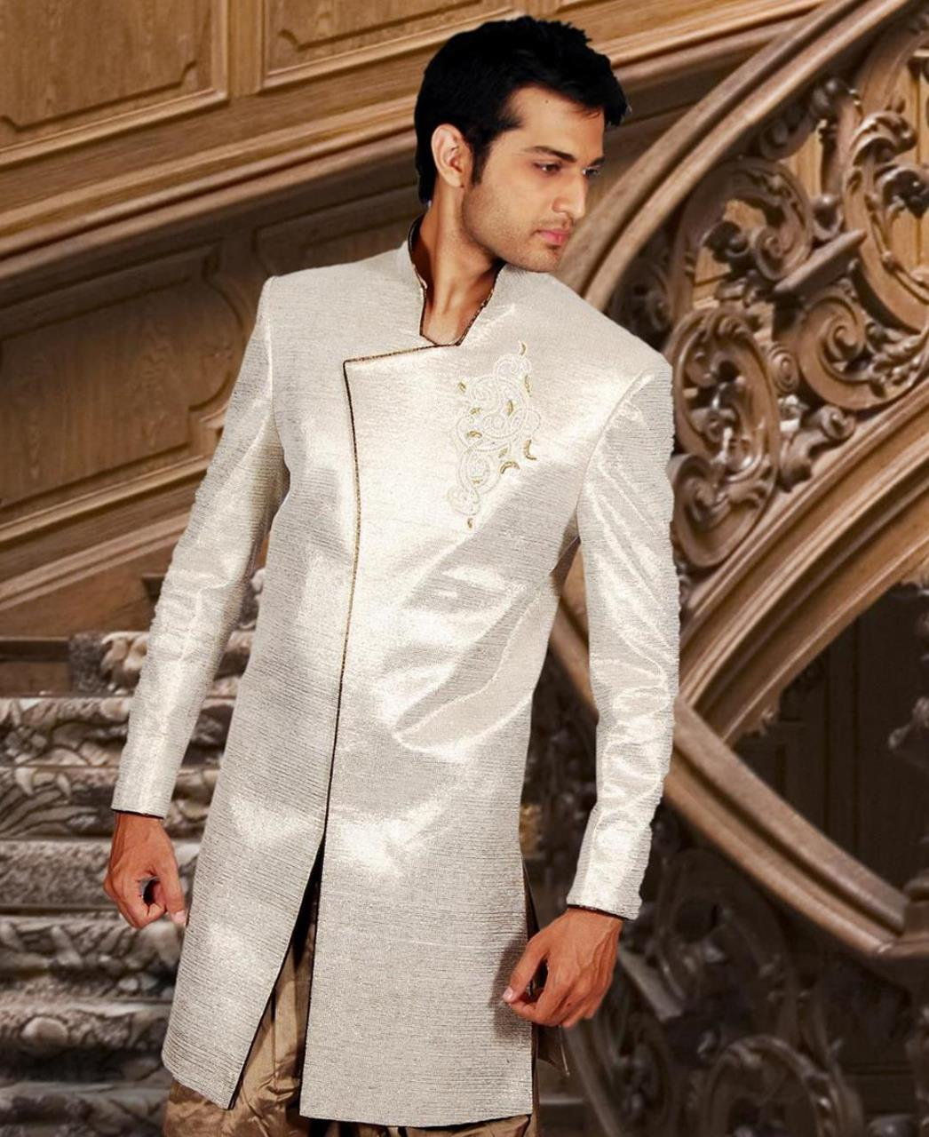 Embroidered Silk Beige Coats