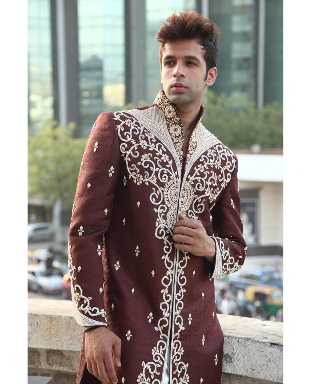 Embroidered Silk Maroon Sherwani