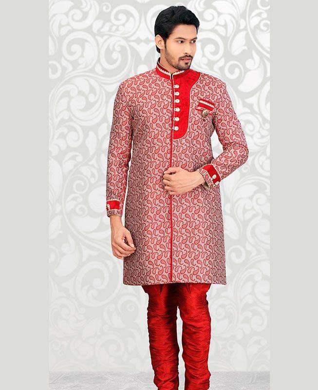 Patch Work Jute Silk Red Mens Sherwani