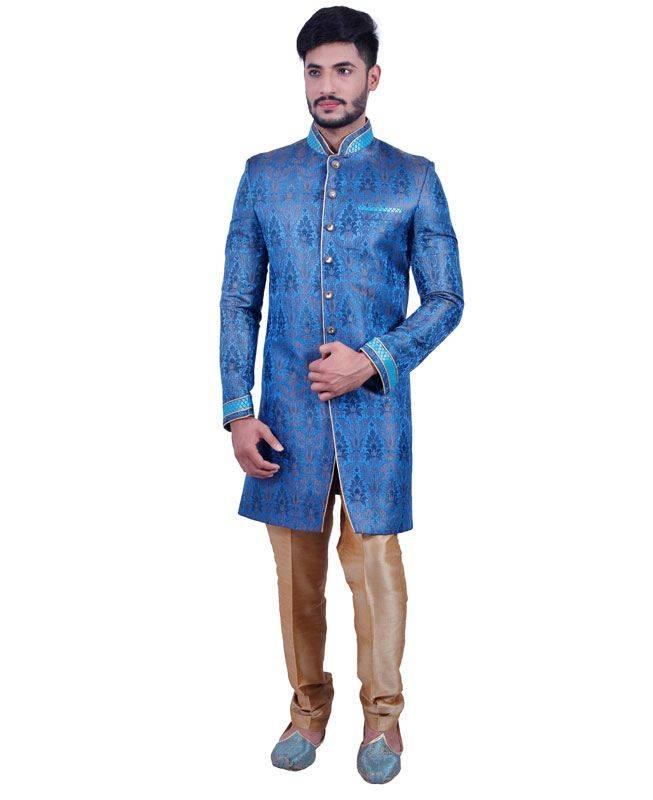 Plain Brocade Blue Mens Sherwani