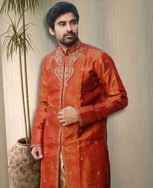 Brocade Patch Silk Orange Mens Kurta Pajama