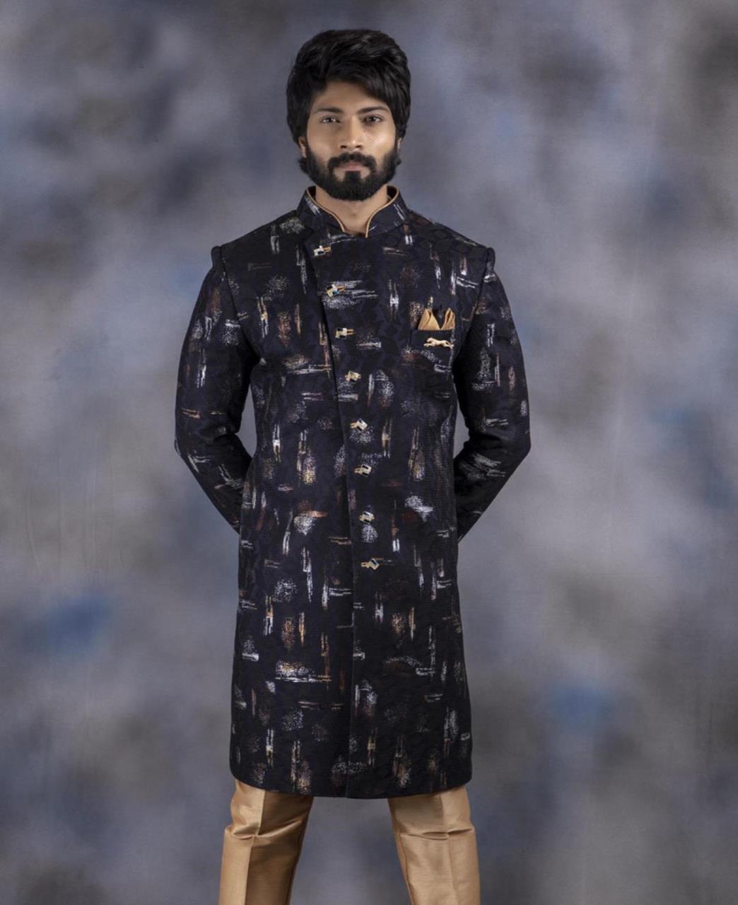 Printed Cotton Black Kurta Pajama