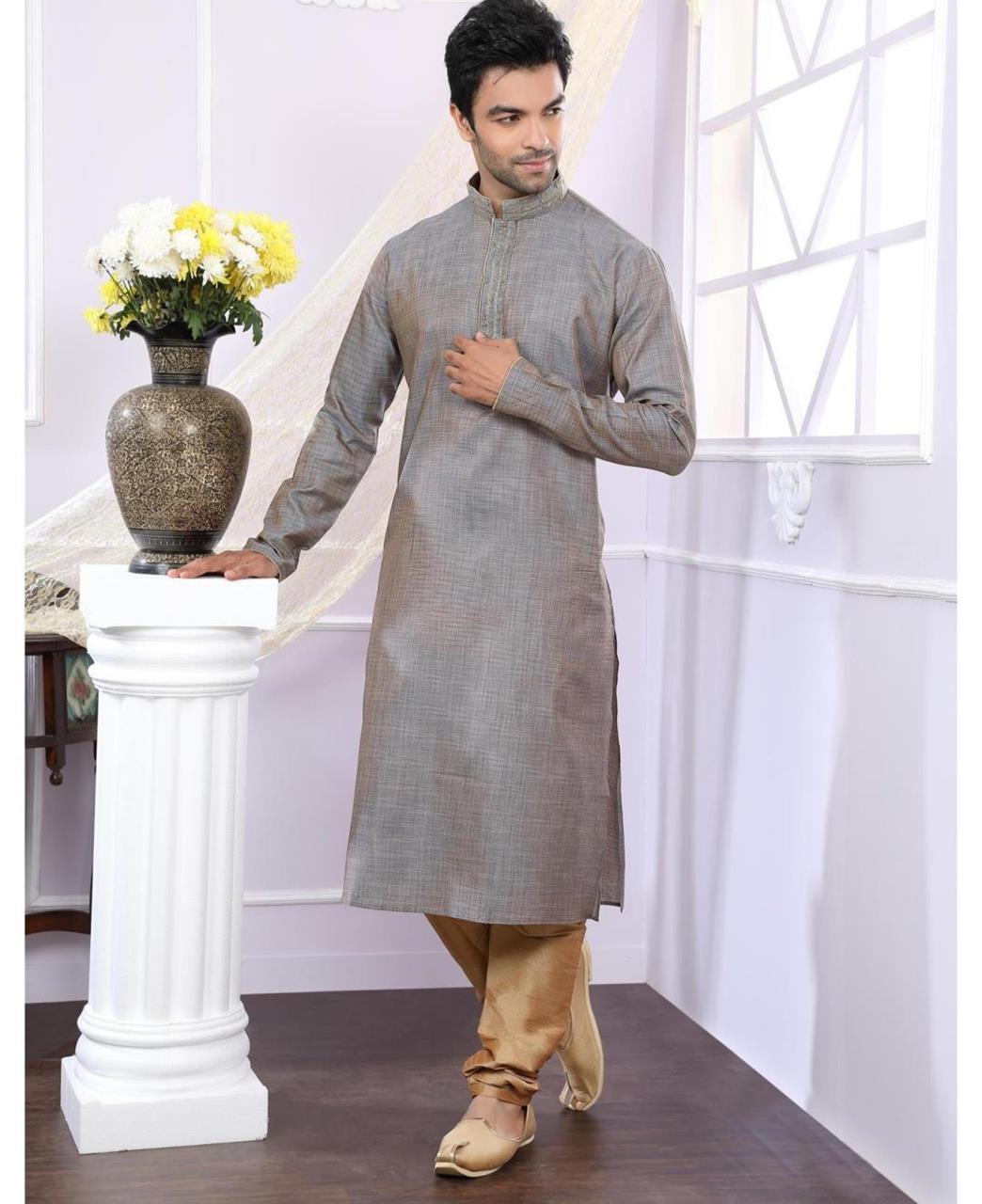 Plain Jacquard Gray Kurta Pajama