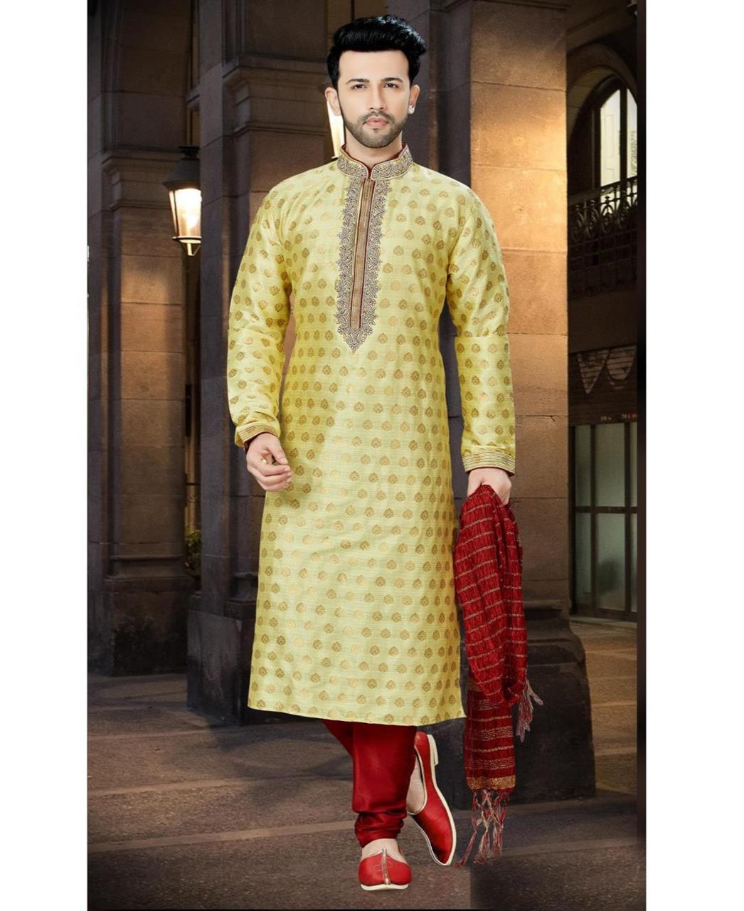 Printed Jacquard Yellow Sherwani
