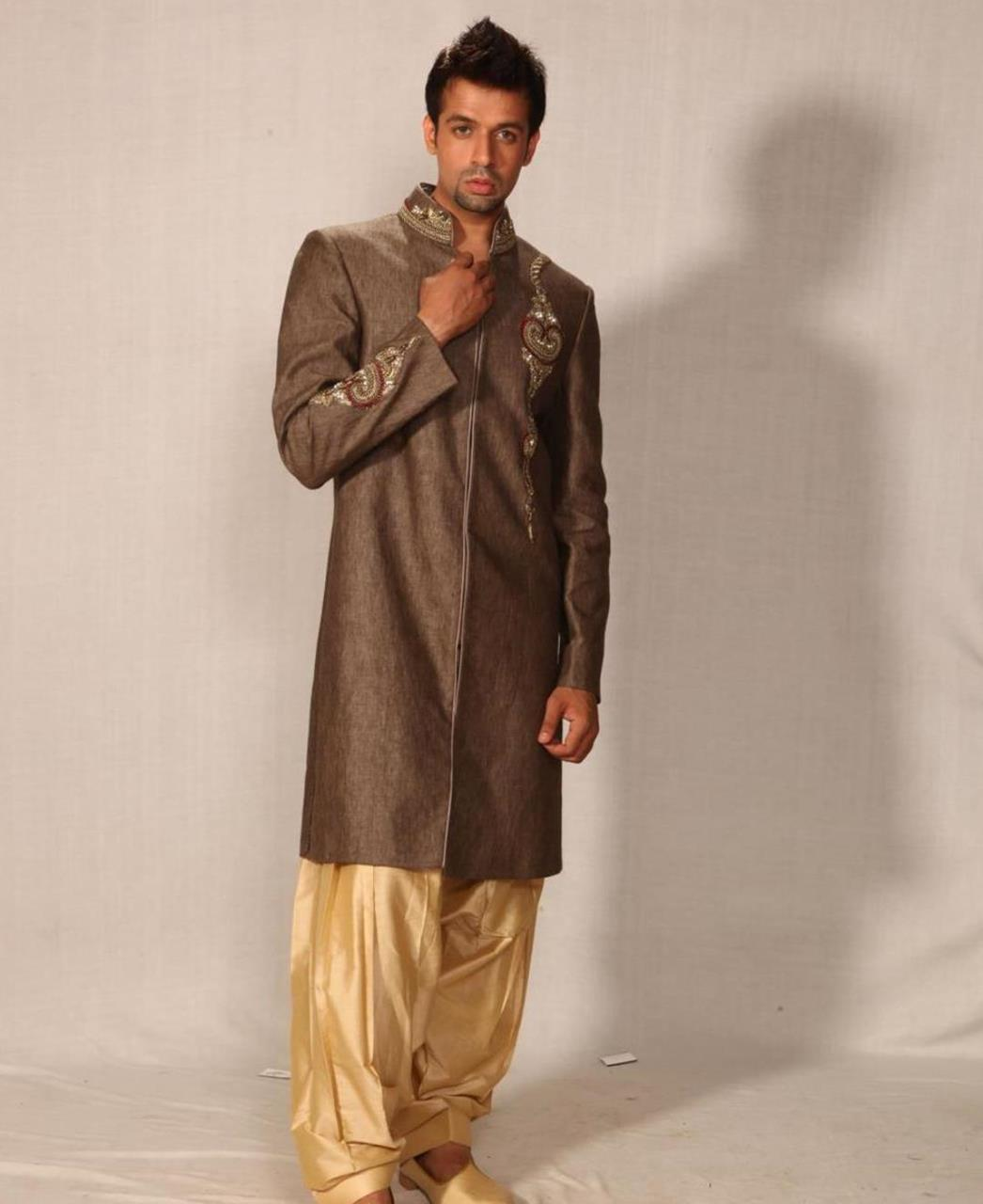 Embroidered Silk Brown Coats