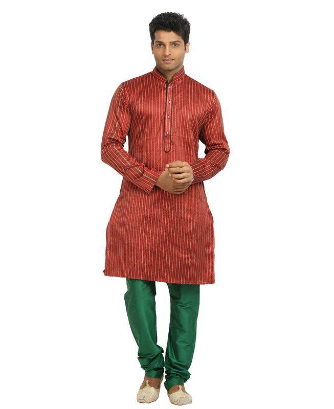 Resham Silk Red Mens Kurta Pajama