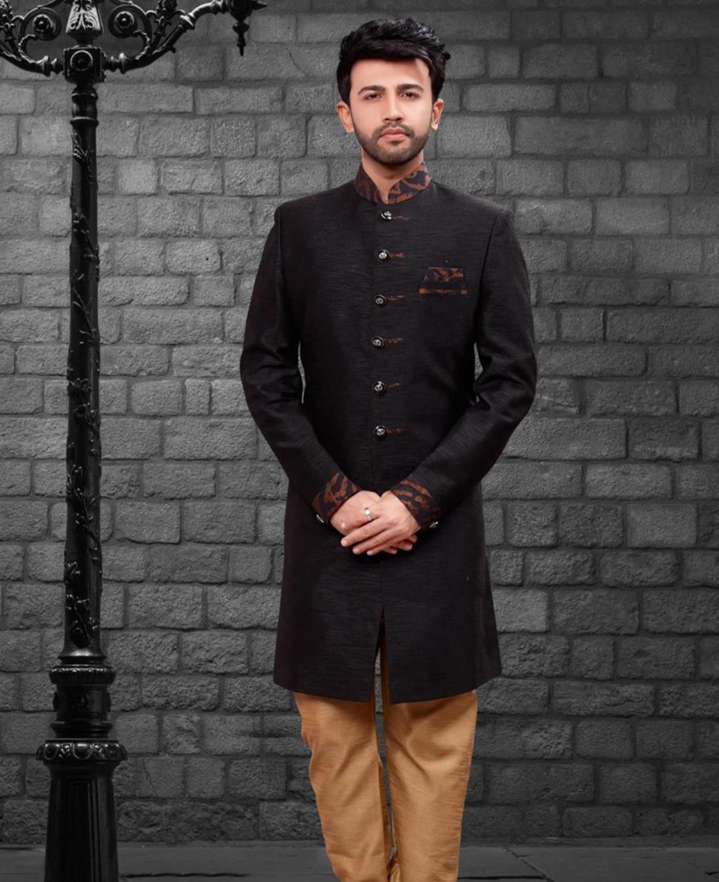 Printed Silk Black Kurta Pajama