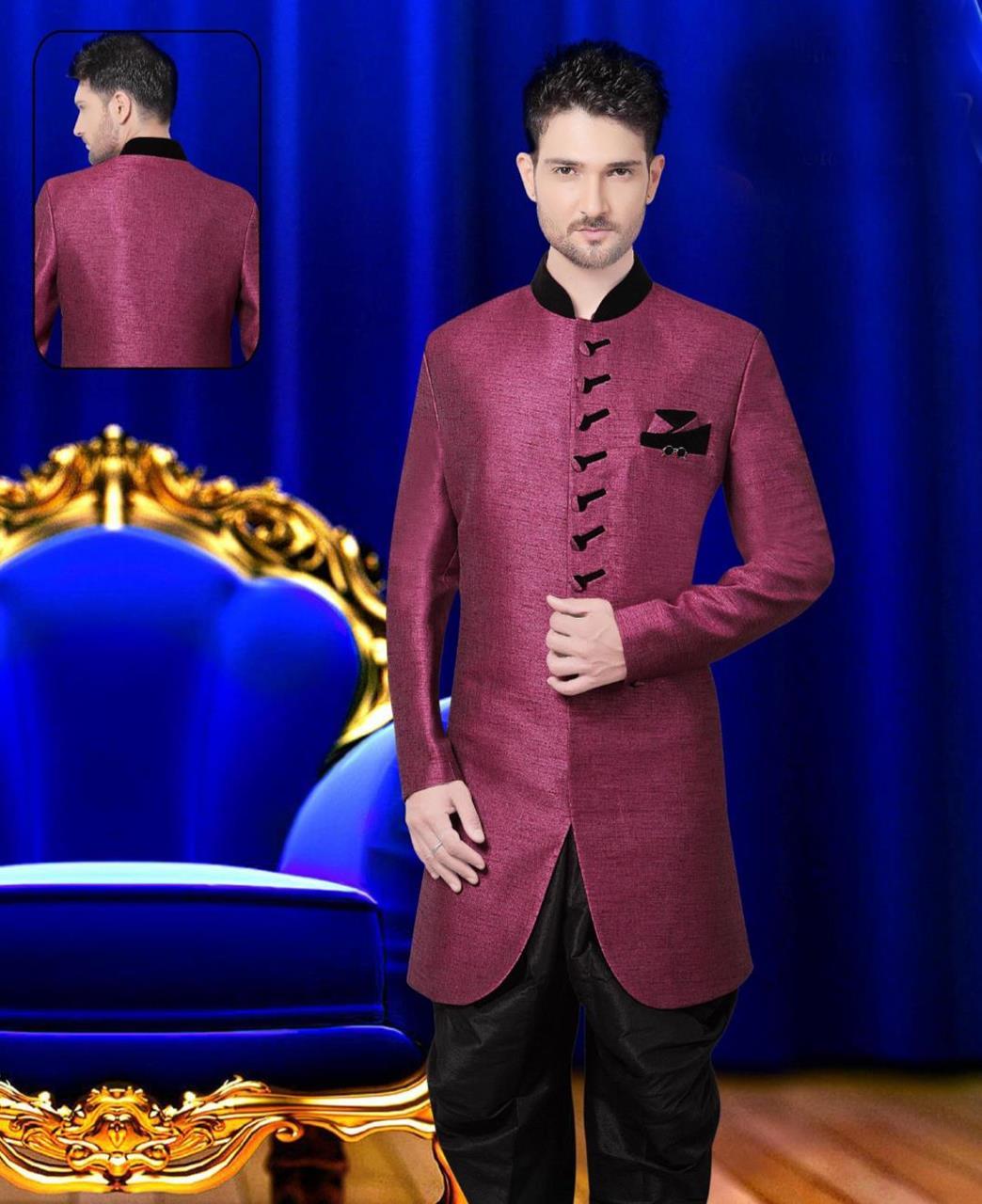 Plain Jute Silk Purple Sherwani