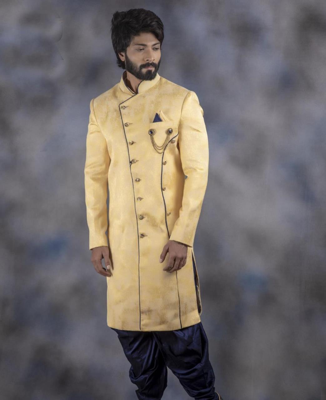Printed Jacquard Gold Kurta Pajama