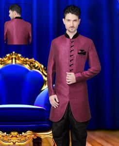 Plain Jute Silk Purple Sherwani