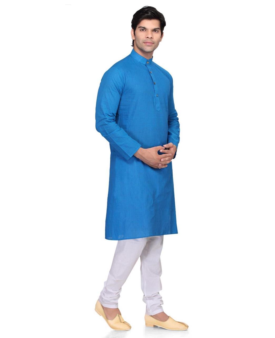 Plain Cotton Blue Kurta