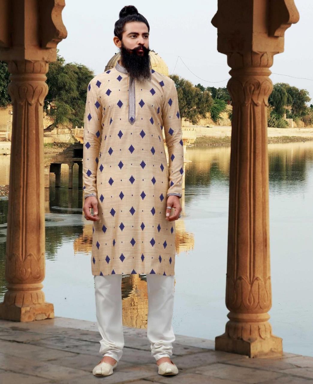 Printed Viscose Cream Kurta Pajama
