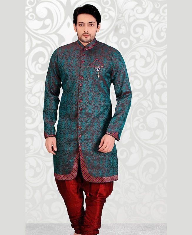 Plain Jacquard Maroon Mens Sherwani