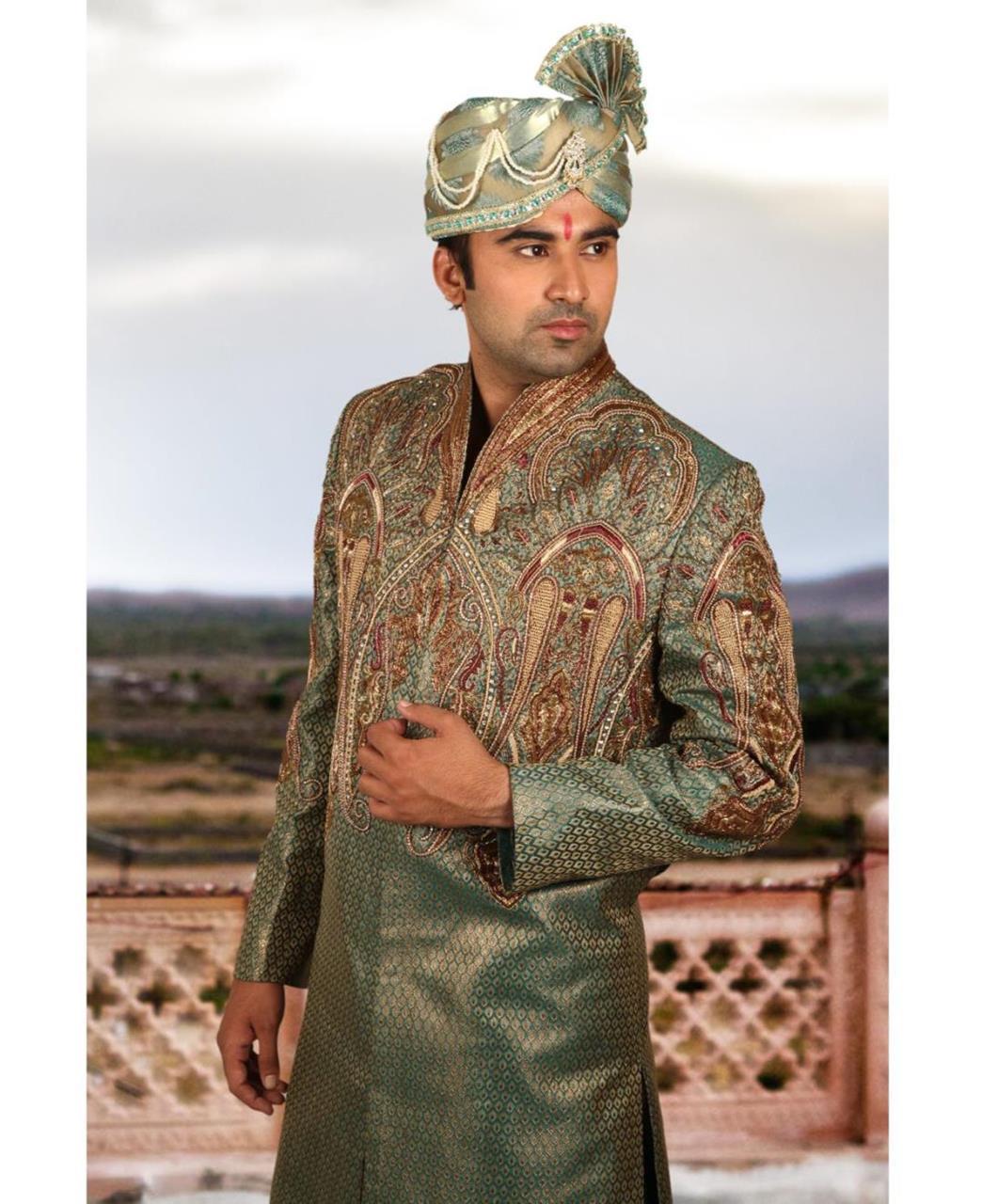 Embroidered Silk Green Sherwani