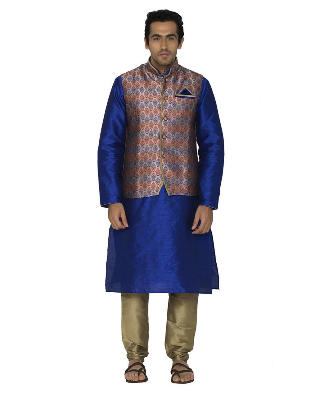 Printed Polyester Navyblue Kurta Pajama