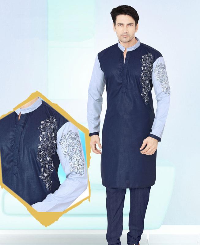 Embroidered Cotton Navyblue Kurta Pajama