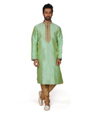Embroidered Silk Green Kurta Pajama