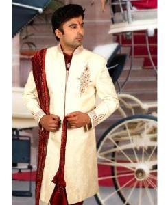 Embroidered Silk Cream Sherwani