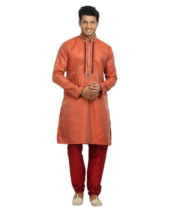 Brocade Patch Silk Orange Mens Kurta Pajama