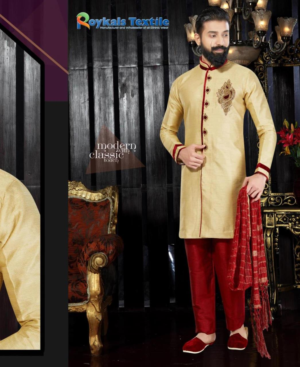 Embroidered Dupion Silk Gold Sherwani