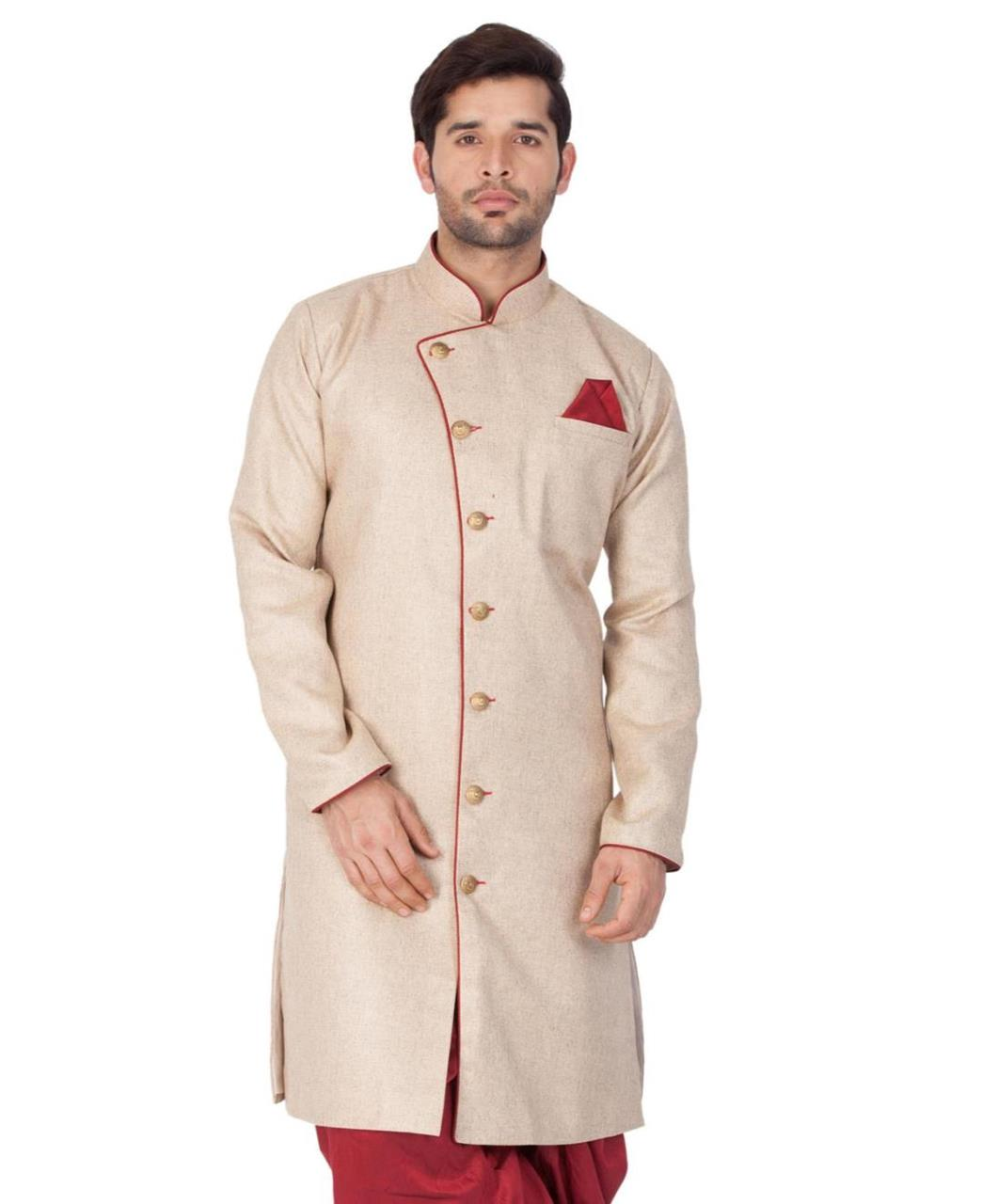 Plain Blended Cotton Beige Kurta Pajama