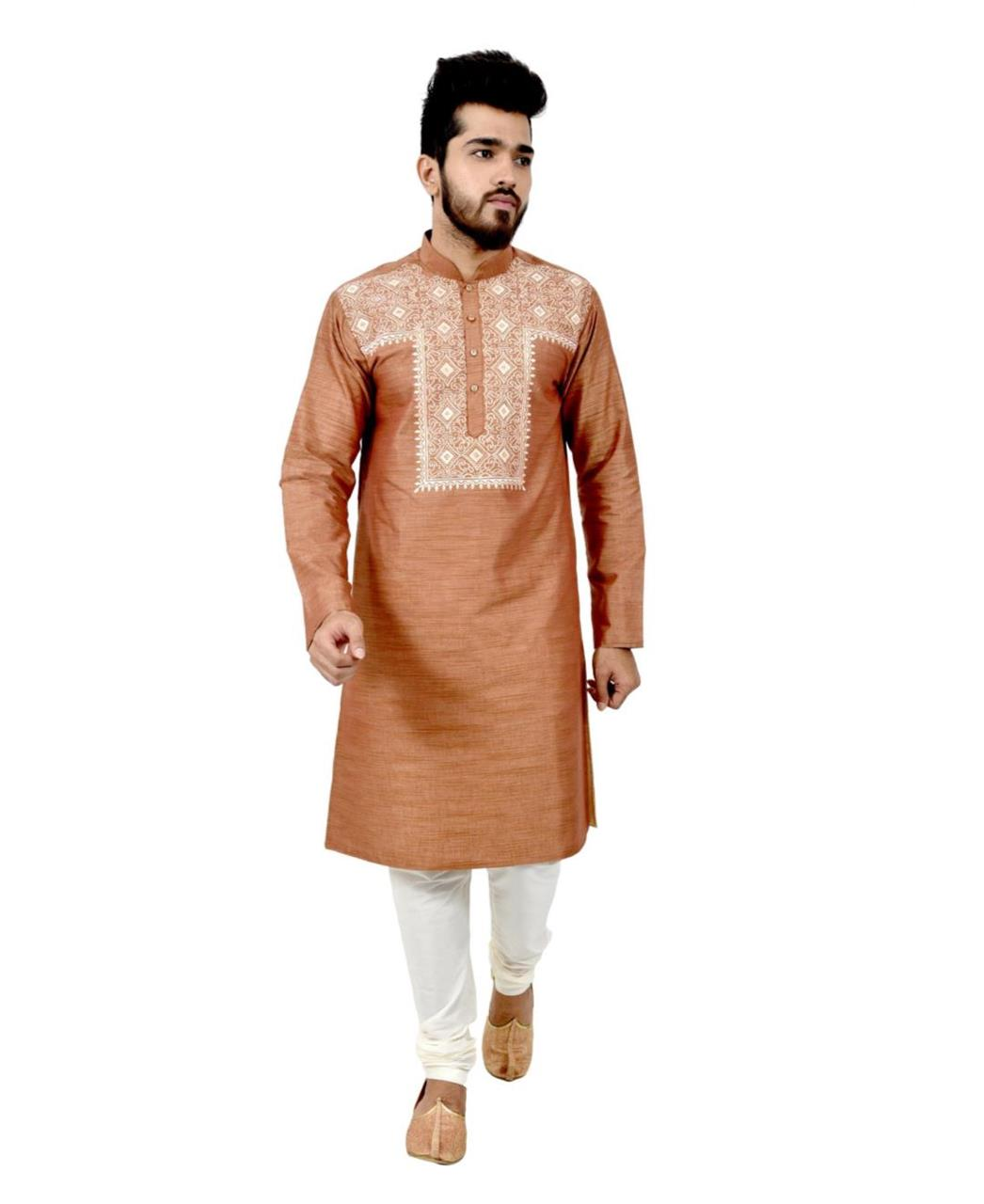Button Work Silk Brown Kurta