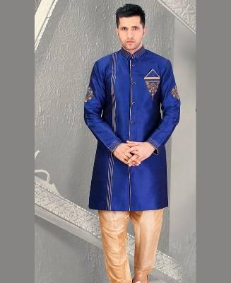 Beads Dupion Silk Blue Mens Sherwani