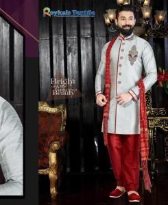 Embroidered Silk Gray Sherwani