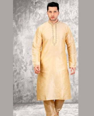 Butta Work Dupion Silk Cream Mens Kurta Pajama