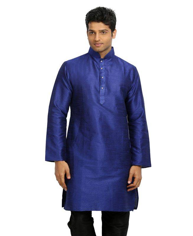Plain Silk Purple Mens Kurta Pajama