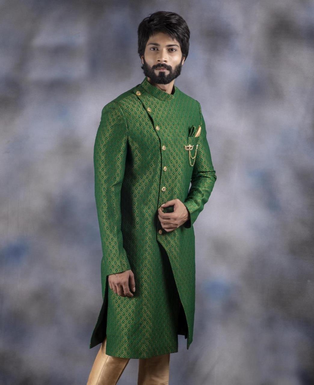 Printed Jacquard Green Kurta Pajama