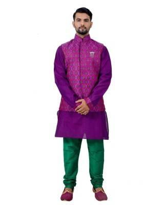 Printed Cotton Purple Waist Coats