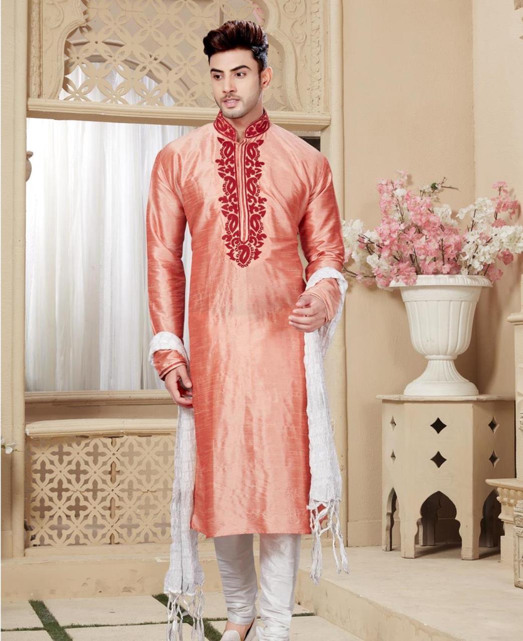 Plain Art Silk Orange Sherwani
