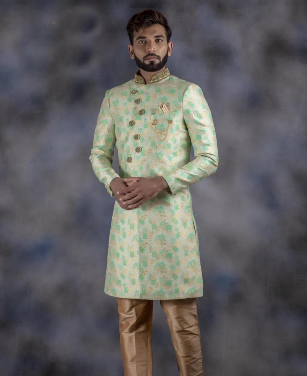Printed Jacquard MINTCREAM Kurta Pajama
