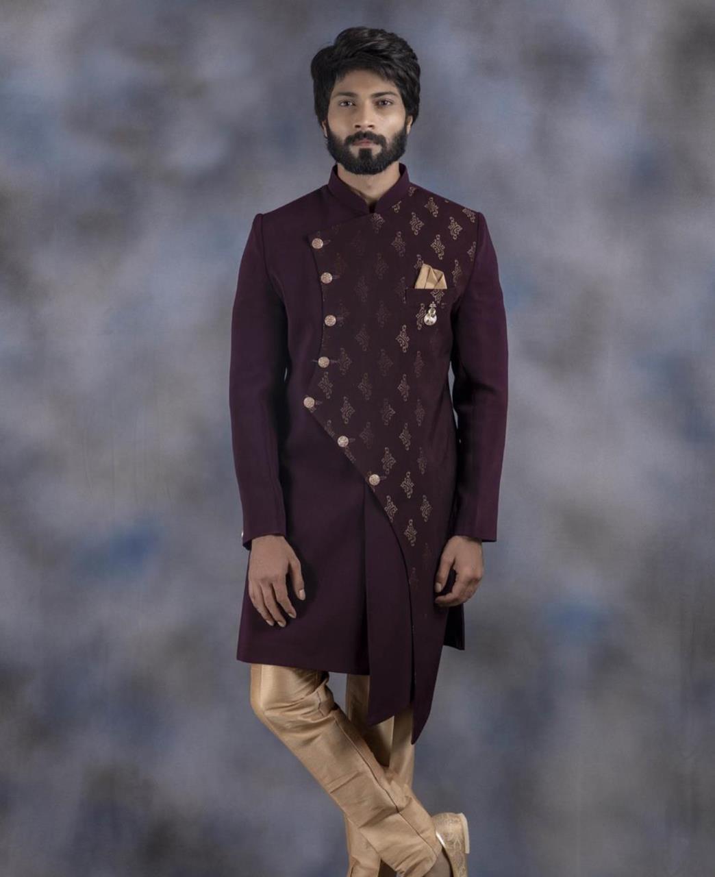 Printed Jacquard Purple Kurta Pajama