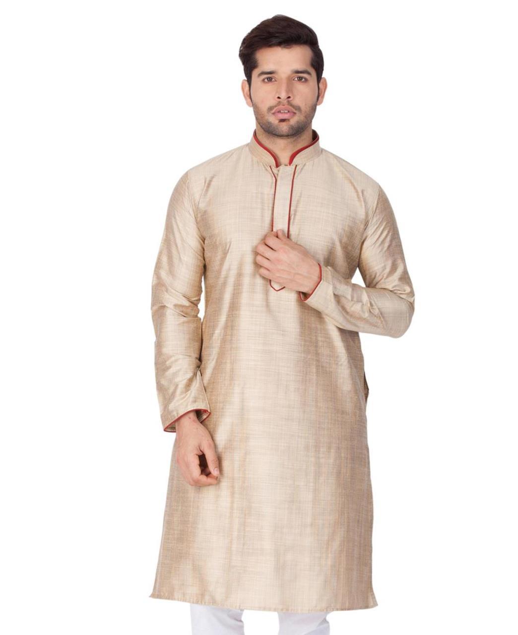 Plain Cotton Beige Kurta Pajama
